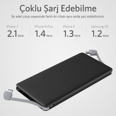 POWERBANK ST50X 5000MAH, ULTRA İNCE, DAHİLİ KABLO