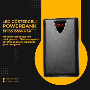 POWERBANK ST100 10000MAH, 3 USB ÇIKIŞI, LCD EKRAN
