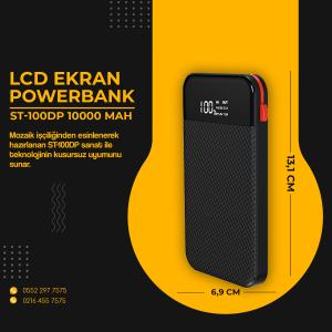 POWERBANK ST100DP 10000MAH, ÖZEL DAHİLİ KABLO