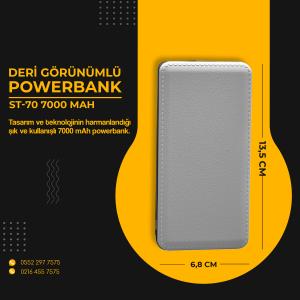 ST-70 7000 mAh Deri Görünümlü Powerbank